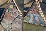 Ceramic Prism� (detail). Willow, raffia, �found� wood (Xania, Crete) and raku ceramic & glazes. 30cm x 30cm x 30cm.