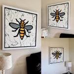 Back from my framer ➡️ This is my version of the #ManchesterBee could look in your #home or #business ➡️ Can be seen in my studio this weekend. #design #interiordesign