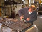 Jeff working in the Leander Bronze Foundry at Llanrhaeadr-ym-Mochnant on one of the Kendal bronzes